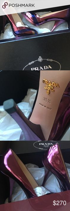 Beautiful Prada pink/purple metallic peeptoe heels Excellent condition, worn only once. They are slightly too small for me unfortunately :( they are extremely comfy given the heels! Lush leather. In typical Prada shoe fashion, they shoes are made exquisitely and adjust to your feet as you wear them over time. Prada Shoes Heels