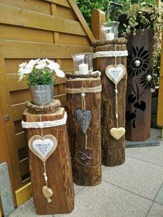 Wooden beams Deko Garten - Home Garden Crafts, Garden Projects, Deco Nature, Garden Deco, Rainbow Crafts, Deco Floral, Farmhouse Christmas Decor, Outdoor Christmas, Wedding With Kids