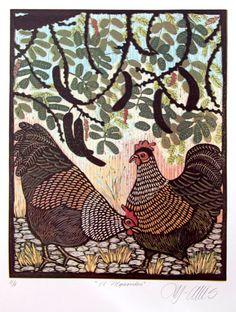 Hens Under a Carob Tree - linocutheaven, Etsy