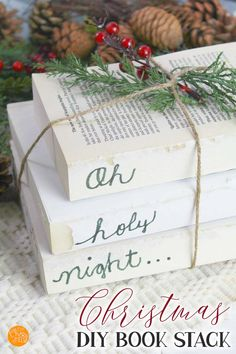 Home Decor Advice LOVE this farmhouse book stack for Christmas! This is an easy farmhouse style decor project for the holidays. Make your own farmhouse book stack with a few simple supplies. A super inexpensive DIY Christmas decor project! Simple Christmas, Christmas Crafts, Christmas Decorations, Christmas Themes, Handmade Christmas, Budget Crafts, Diy Crafts, Farmhouse Books, Jingle All The Way