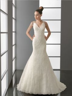 V Neck and Back Embroidered Trumpet Wedding Dress with Wide Straps
