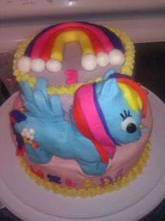My little pony, Rainbow Dash cake I just made.