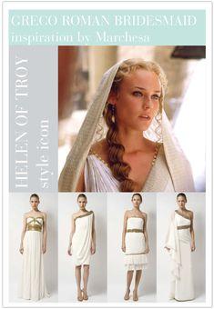 Helen of Troy Ancient Greek Clothing, Roman Hairstyles, Greek Dress, Toga Party, Greek Goddess Costume, Masquerade Costumes, Greek Wedding, Costume Design, Bridal Style