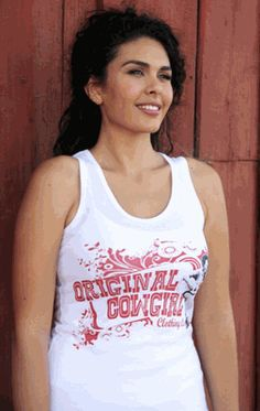 Original Cowgirl with Guitar Tank-White