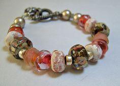 Handmade Lampwork Glass Bracelet Autumn Sunset B90 by BeadWire