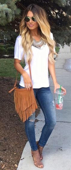 #summer #outfits  White Tee + Ripped Skinny Jeans