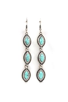 Turquoise Marquise Earrings in Silver