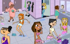 Total Drama girls' bathroom by Trrrrrrr on DeviantArt Total Drama girls' bathroom by Trrrrrrr Cartoon Tv, Cartoon Shows, Girl Cartoon, Cartoon Characters, Drama Total, Total Drama Island, Peppa Pig Imagenes, Steven Universe, O Drama