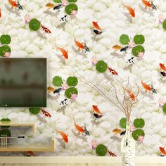33.00$  Watch here - http://ali0tf.shopchina.info/1/go.php?t=32758006669 - beibehang wall background wallpaper luxury smooth non-woven wallpaper goldfish pattern wallpaper bedroom living room wallpaper 33.00$ #bestbuy