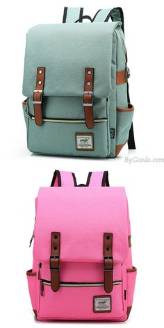 I like the green! Which color do you like? Vintage Travel Backpack Leisure Canvas With Leather Backpack&Schoolbag for big sale.#backpack #college #bag #rucksack #women #school #student #canvas