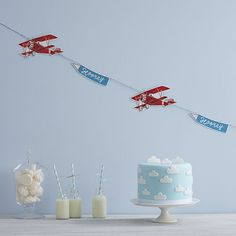 Shop Ginger Ray Vintage Paper Plane Bunting Hanging Decoration For Parties Or The Home - Flying High. Planes Birthday, Planes Party, Airplane Party, Birthday Bunting, Birthday Decorations, Boy First Birthday, Boy Birthday Parties, Birthday Celebration, Fiesta Baby Shower