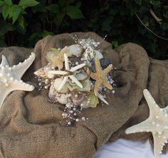 sea shell bride bouquet, beach wedding bouquet, nautical, coastal wedding bouquet, florist made, alternative, beach bouquet shells, starfish on Etsy, $114.50