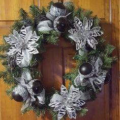 Poinsettia Wreaths, Christmas Wreaths, Christmas Wreath, Lighted Christmas Wreaths, Black and White Wreath, Front Door Wreaths, Wreath by WEEDsByRose on Etsy