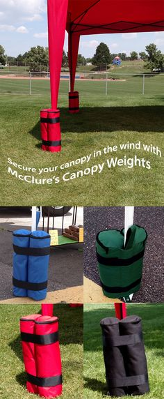 Secure your canopy in the wind at: farmer's markets, tailgating, soccer or football games, camping, weddings, festivals, etc.