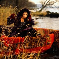 Pre-Raphaelite fashion photo shoot in The Lake District, 1993 (Photographer John Swannell)