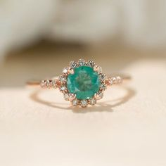 Emerald Engagement Ring Emerald Ring Rose Gold Ring Halo Engagement Ring Unique Engagement Ring Vintage Inspired Dainty by TrudyGems on Etsy Rose Gold Emerald Ring, Natural Emerald Rings, Emerald Diamond, Emerald Cut, Emerald Green, Green Sapphire, Green Diamond, Emerald Stone, Natural Rings