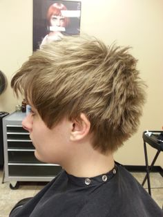 Short and sassy, textured pixie cut.