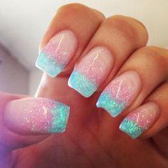 Aqua glitter French tip