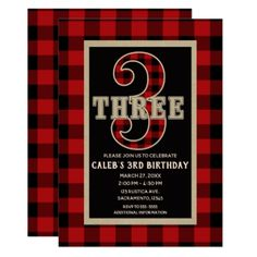 Rustic Red Black Buffalo Plaid 3RD Birthday Party Card - invitations custom unique diy personalize occasions