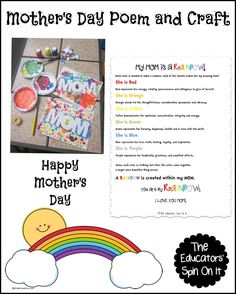 "Do you have a special Mom that you would like to wish Happy Mother's Day too?  Create a rainbow with crayons, paint, torn paper or even watercolors and print out this Mother's Day Poem.  Better yet have your children read it to Mom.  Here's are the many reason why ""My MOm is a Rainbow."" Print …"