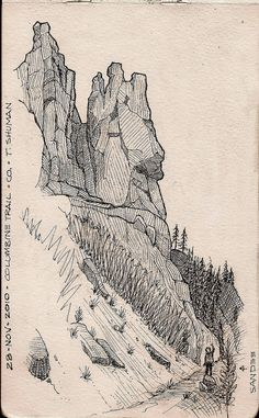 Outdoor Sketches – Unstringing the Bow Landscape Sketch, Landscape Drawings, Landscapes, Landscape Art, Sketchbook Inspiration, Art Sketchbook, Ink Illustrations, Illustration Art, Drawing Sketches