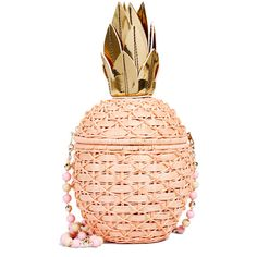 Serpui Marie Pineapple Wicker Clutch ($290) ❤ liked on Polyvore featuring bags, handbags, clutches, peach, acrylic clutches, metallic handbags, acrylic purse, shoulder strap handbags and lucite purse