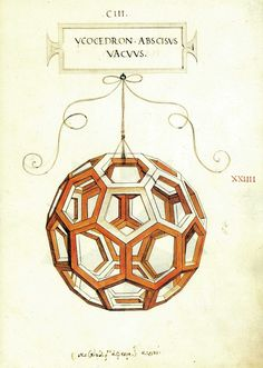 Leonardo da Vinci drew the illustrations for Luca Pacioli's 1509 book De Divina Proportione (The Divine Proportion). Drawing of the truncated icosahedron, from the manuscript of the book.