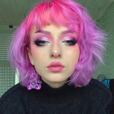 it's fair to say i missed my rainbow hair when it left soooo I just decided to dye it back again! I'm gonna be putting the whole… Aesthetic Hair, Aesthetic Makeup, Beauty Makeup, Hair Makeup, Hair Beauty, Pink Makeup, Makeup Eyeshadow, Funky Hairstyles, Pretty Hairstyles