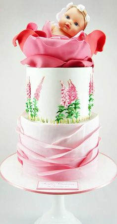 Pink Ruffle and Rose Christening Cake