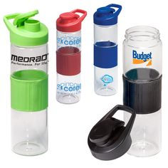 PL-4042 Rubber Grip Glass Bottle. 16.9 oz. borosilicate glass water bottle with rubber grip. Plastic screw-on lid with snap closure and carry handle. Rubber grip matches lid color.