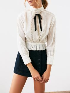 Vintage Victorian Top | Long sleeve Victorian blouse with peplum detail at the waist and soft pintuck accents.