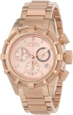 Invicta Womens 12460 Bolt Reserve Chronograph Rose Tone Dial 18k Rose Gold Ion-Plated Stainless Steel Watch