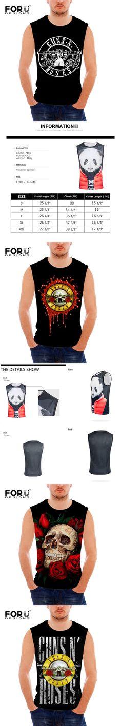 FORUDESIGNS Gun n Roses Print t Shirt Men Sleeveless Tee Bodybuilding Stringer Tank Tops Male Streetwear Crew Neck S M L XL XXL