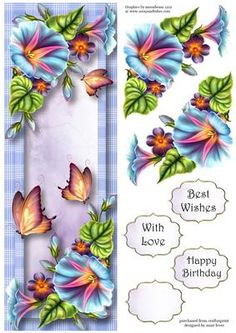 This lovely large DL sized topper features beautiful morning glory flowers and butterflies. It has decoupage, three greetings and a blank greetings tile.