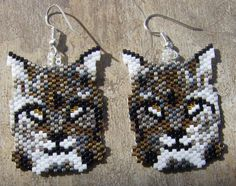 Bob Cat /Lynx brick stitch seed beaded earrings by wolflady