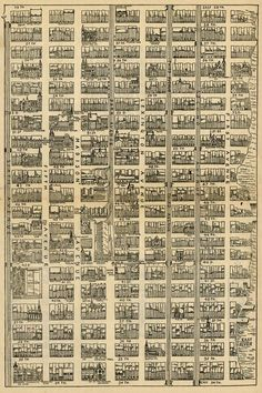 Unknown: Map of Midtown Manhattan, from Street to Street and from Avenue to Avenue, 1890 – A Collection of Very Strange Maps Old Maps, Antique Maps, Vintage Maps, 1st Avenue, New Retro Wave, Map Globe, Map Design, Design City, City Maps