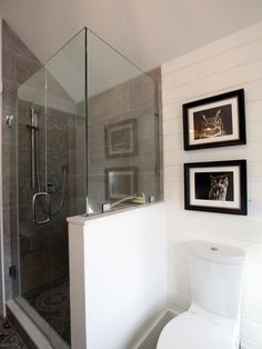 As seen on Rocky Mountain Reno, the small, cramped bathroom has been converted into a luxury spa bathroom for the family. The white subway tile behind the toilet and sink give the room a bright look, while the grey tile in the shower area breaks up the monotony, adding warmth and separating the glass shower area from the rest of the space.