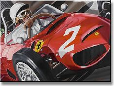 """Shark Attack"" 1961 Ferrari F1 and Phil Hill (by Colin Carter, limited edition print of 100, Giclée on canvas, size 122cm x 91.5cm)"