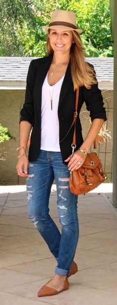 Fedora, boyfriend blazer, distressed denim, flats