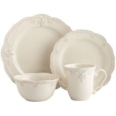 Invite Abigail to the table and you'll no doubt impress guests. Feminine and congenial, the ivory dinnerware with a raised lace-like trim is suitable for everyday and more formal occasions. Stoneware Dinnerware, White Dinnerware, Dinnerware Sets, Farmhouse Dinnerware, Casual Dinnerware, Fine China Dinnerware, White Dishes, White Plates, Handmade Home Decor