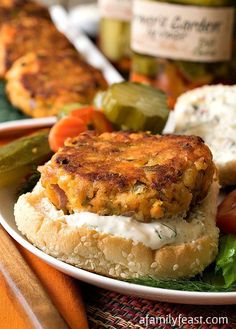 Zesty Salmon Burgers with Dill Spread - Spice up your barbecue with these delicious salmon burgers!