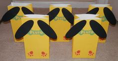 Pluto Party Favor Bags... I think I'd skip the paw print stamp if I were making them.