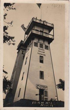 Vintage Irish Hills Michigan Postcard, Original Irish Hills Tower, Real Photo c.1927