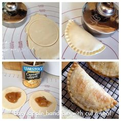 MINI APPLE PIES Cut refrigerated pie crust with Cut 'N Seal, put 1 1/2 tsp pie filling on one side of the circle, fold in half and sealed. Baked at 450 for 12 minutes. Add a little milk to powdered sugar for a glaze and sprinkle a tiny bit of sugar on top. Easy apple pie