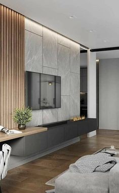 home theater planejado sala apartamento - hometheaters Living Room Interior, Home Living Room, Living Room Decor, Painel Tv Sala Grande, Salas Home Theater, Modern Tv Room, Living Room Tv Unit Designs, Modern Interior Design, Sweet Home