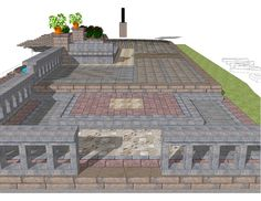 3D Rendering of our Pavestone display located at 11321 Hwy 280 East, Westover, AL  35185.  A raised patio application complete with Pavestone Pavers, Travertine, GeoStone walls, columns, reflecting pool, feeding and overflow waterfalls.