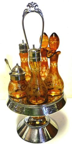 RARE Antique Victorian Cruet Castor Set Silverplate Amber Cut to Clear, 6 pcs. Antique Glass, Rare Antique, Antique Silver, Condiment Sets, Victorian Decor, Victorian Era, Pickle Jars, Amber Glass, Mellow Yellow