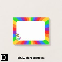Spice up your reminders with these cute Post-It Notes which feature a rainbow-colored zebra trotting with a bunch of colorful balloons. The edges of the paper are trimmed with a palette of rainbow colors. #StudioDalio #stationery #Rainbow #zebras
