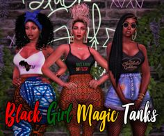 The Sims 4 Black Girl Magic Tank Top Recolor Sims 4 College, African American Girl, American Art, Sims 4 Black Hair, The Sims 4 Packs, Mix Match Outfits, My Sims, Sims Cc, Sims 4 Clothing