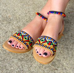 "Boho Greek Leather Sandals, handmade tribal design with multicolor pom pom trim, ethnic fabrics, gold pom pom trim, ""MAYAN"" Boho Shoes, Boho Sandals, Denim Shoes, Fashion Sandals, Leather Sandals, Shoes Sandals, Bts Mode, Indian Shoes, Pom Pom Sandals"